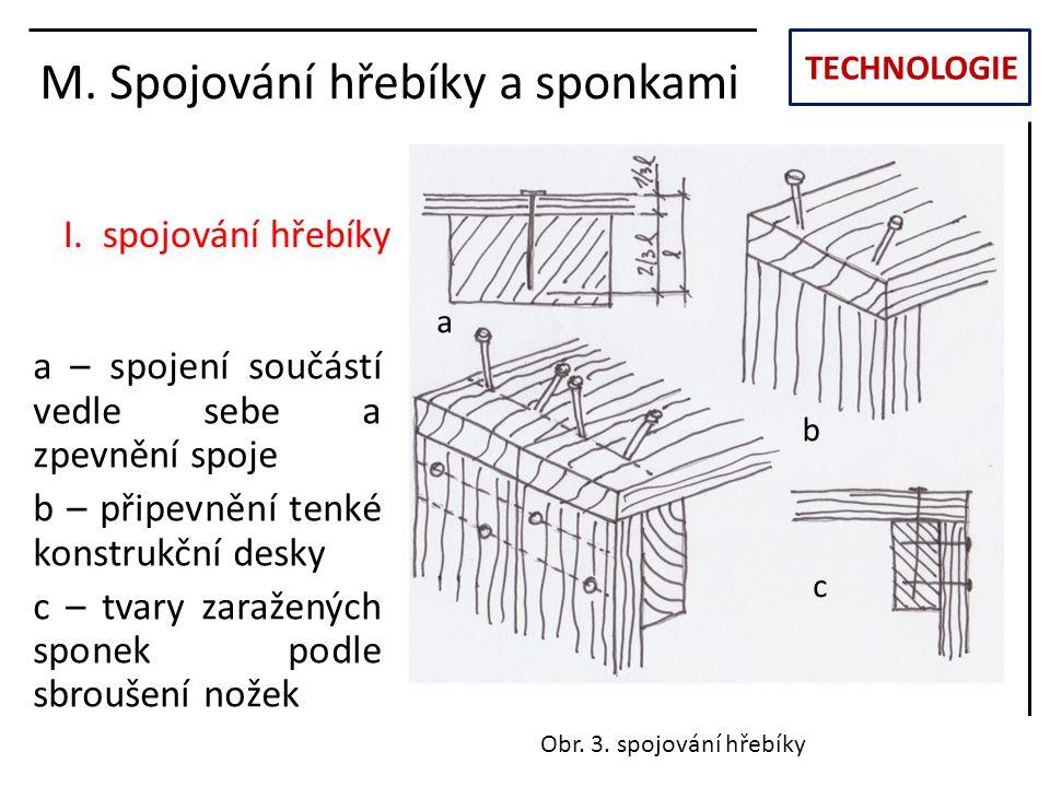 M. Spojování hřebíky a sponkami