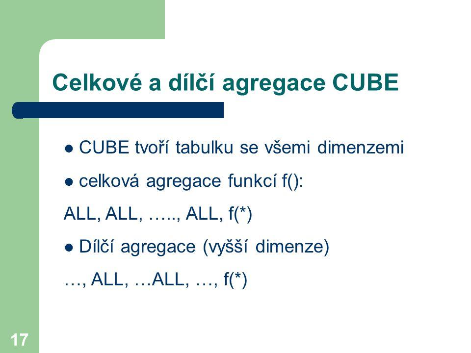 Celkové a dílčí agregace CUBE