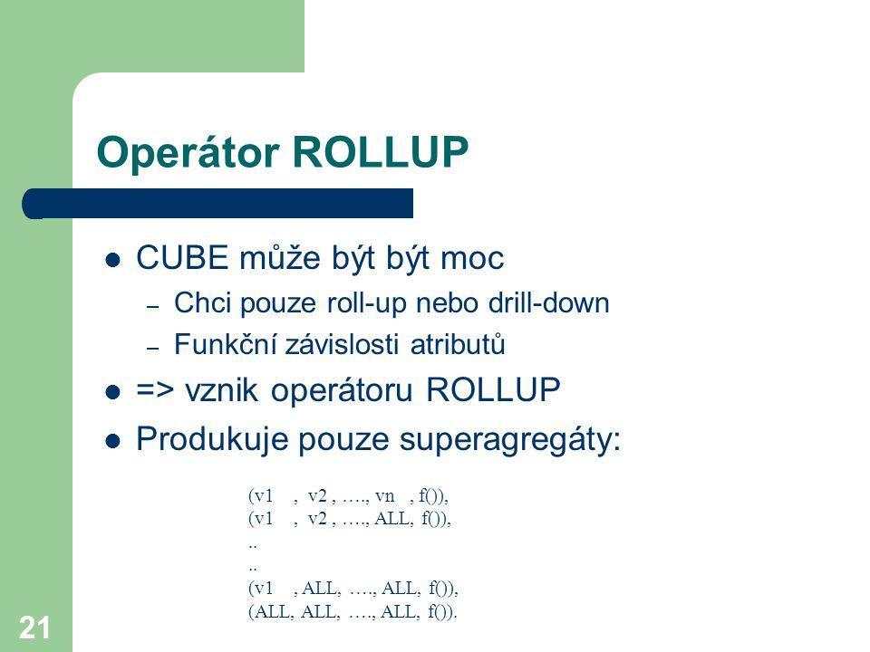 Operátor ROLLUP CUBE může být být moc => vznik operátoru ROLLUP