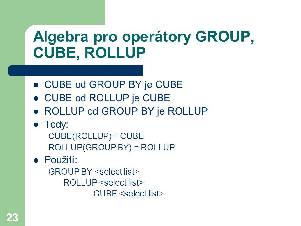 Algebra pro operátory GROUP, CUBE, ROLLUP