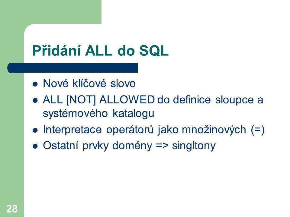 Přidání ALL do SQL Nové klíčové slovo