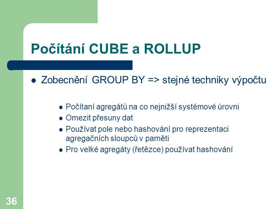 Počítání CUBE a ROLLUP Zobecnění GROUP BY => stejné techniky výpočtu. Počítaní agregátů na co nejnižší systémové úrovni.
