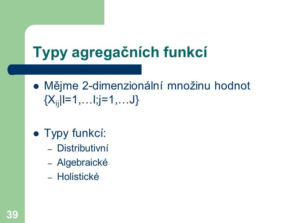 Typy agregačních funkcí