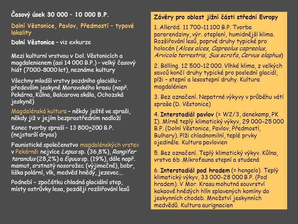 Časový úsek 30 000 – 10 000 B.P. Závěry pro oblast jižní části střední Evropy.