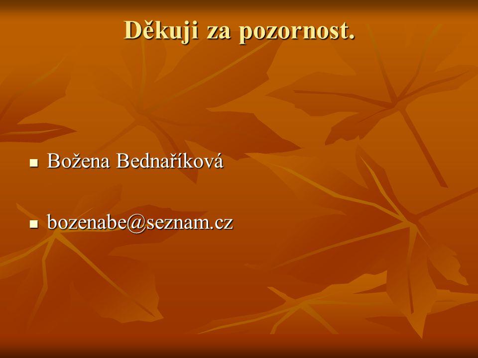 Děkuji za pozornost. Božena Bednaříková bozenabe@seznam.cz