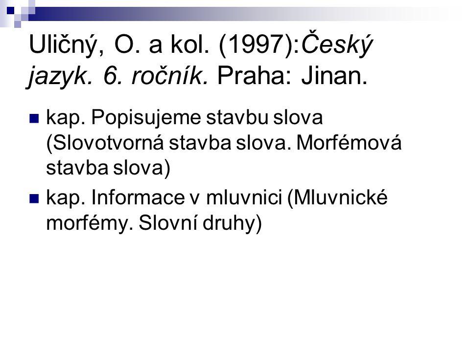 Uličný, O. a kol. (1997):Český jazyk. 6. ročník. Praha: Jinan.