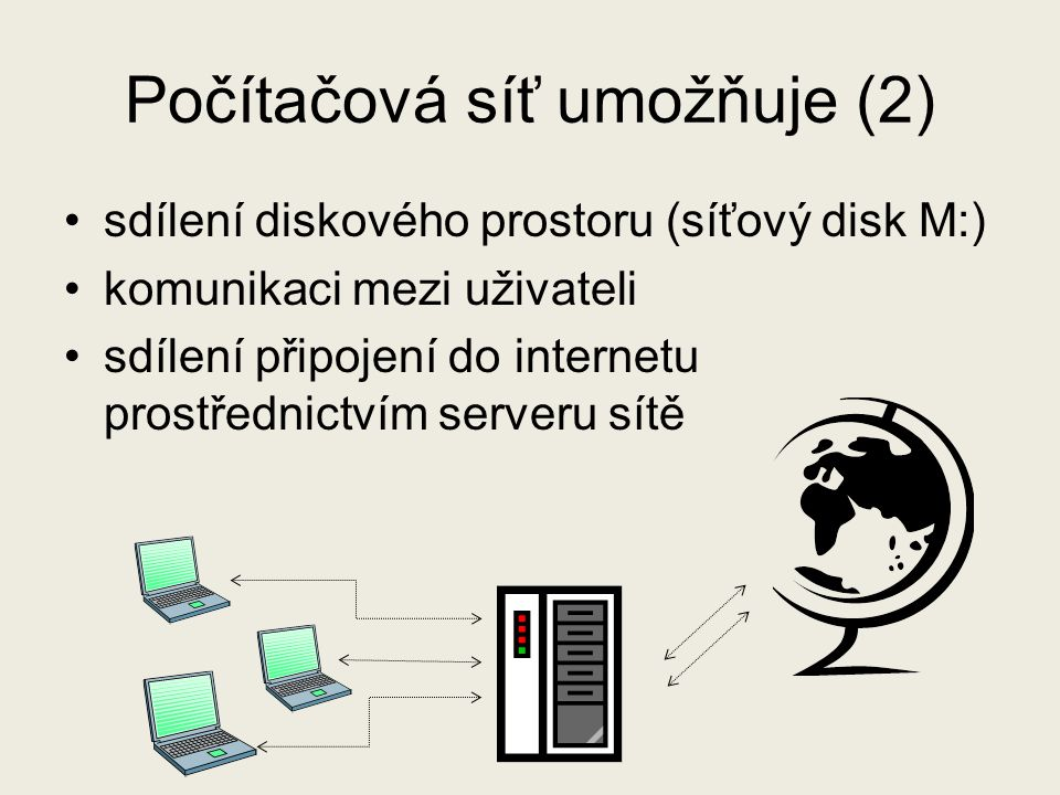 Počítačová síť umožňuje (2)