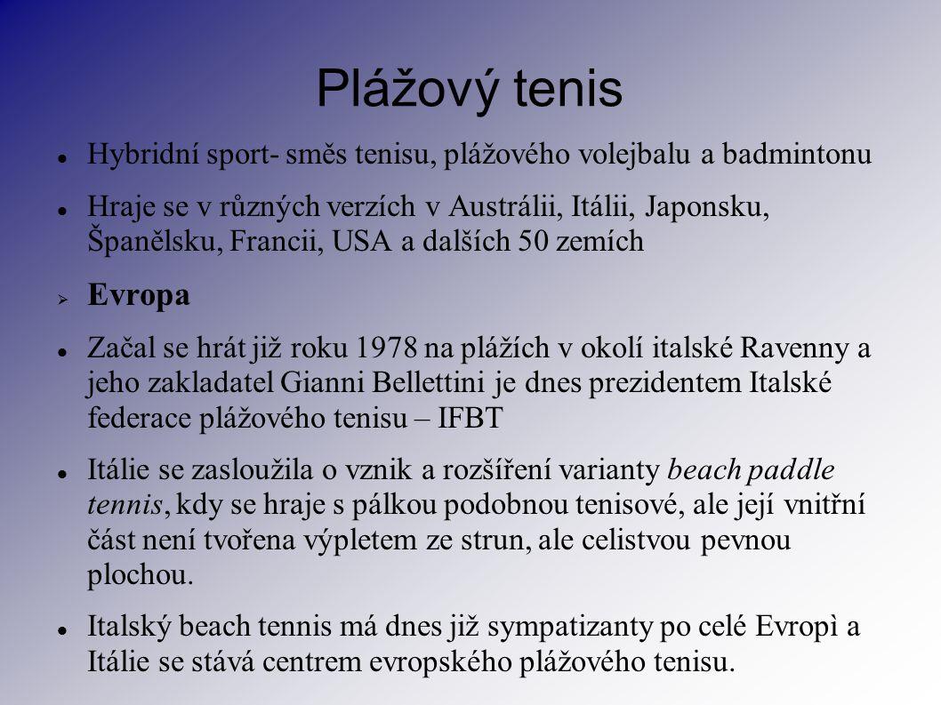 Plážový tenis Hybridní sport- směs tenisu, plážového volejbalu a badmintonu.