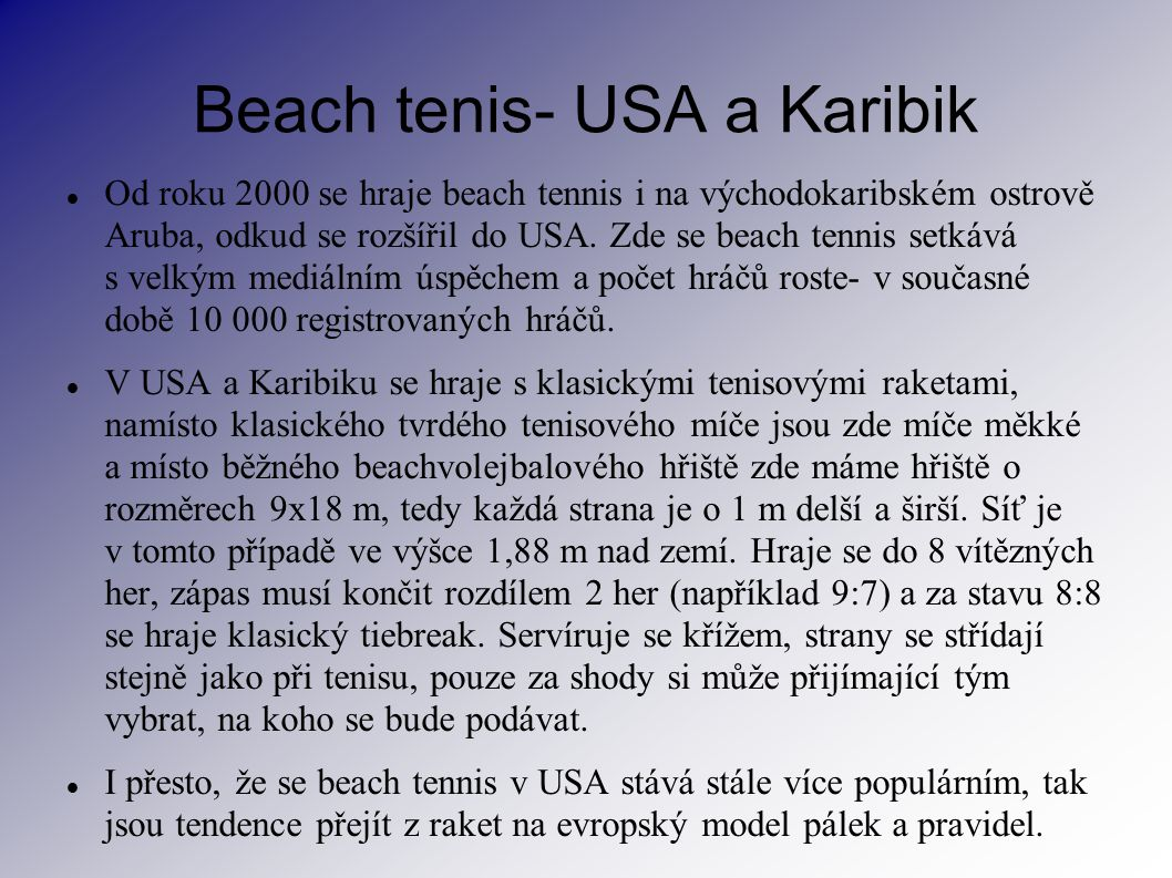 Beach tenis- USA a Karibik