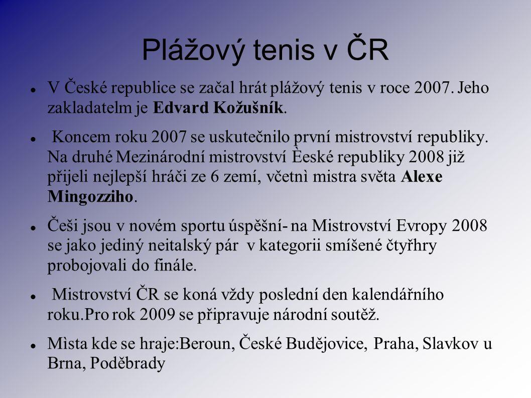 Plážový tenis v ČR V České republice se začal hrát plážový tenis v roce 2007. Jeho zakladatelm je Edvard Kožušník.