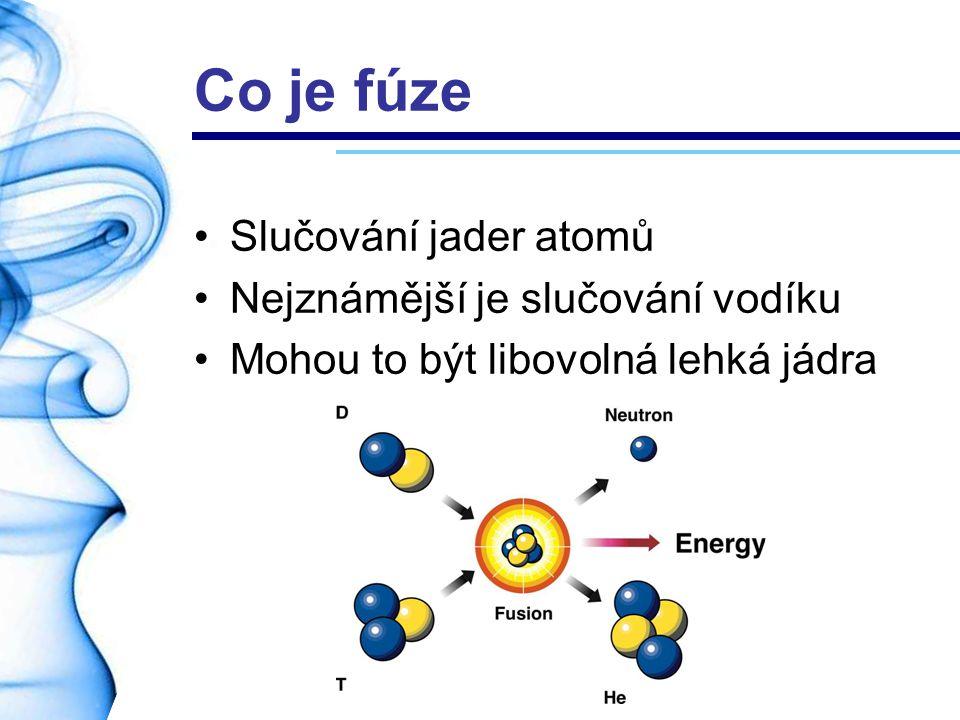 Co je fúze Slučování jader atomů Nejznámější je slučování vodíku