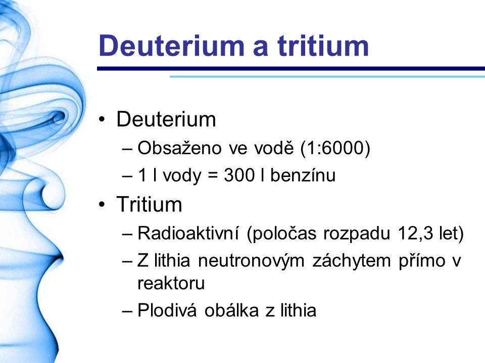 Deuterium a tritium Deuterium Tritium Obsaženo ve vodě (1:6000)