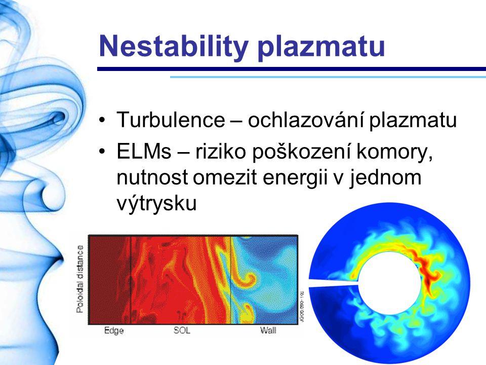 Nestability plazmatu Turbulence – ochlazování plazmatu