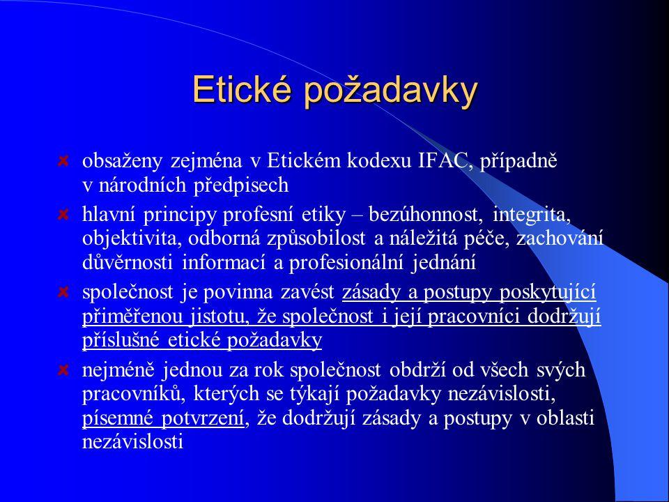 Etické požadavky obsaženy zejména v Etickém kodexu IFAC, případně v národních předpisech.