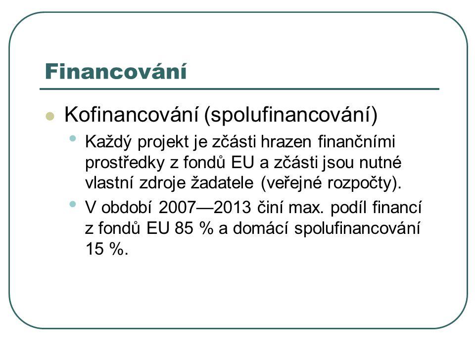 Financování Kofinancování (spolufinancování)
