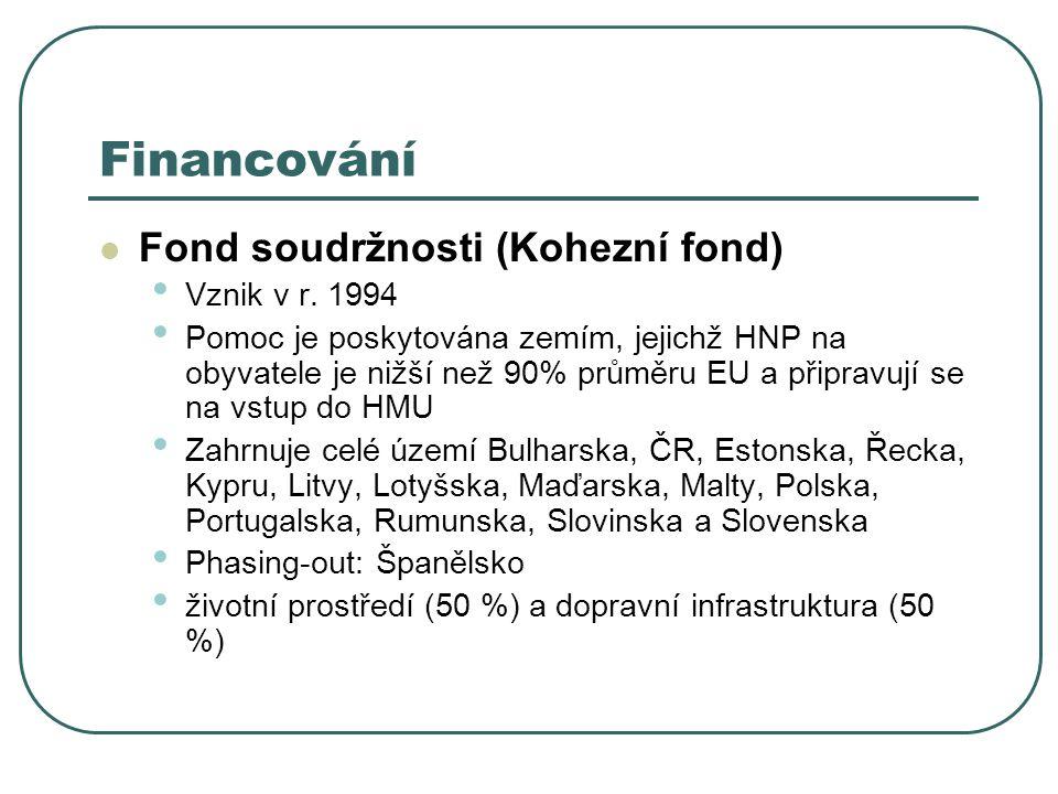 Financování Fond soudržnosti (Kohezní fond) Vznik v r. 1994