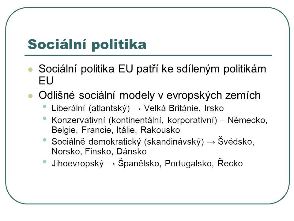 Sociální politika Sociální politika EU patří ke sdíleným politikám EU