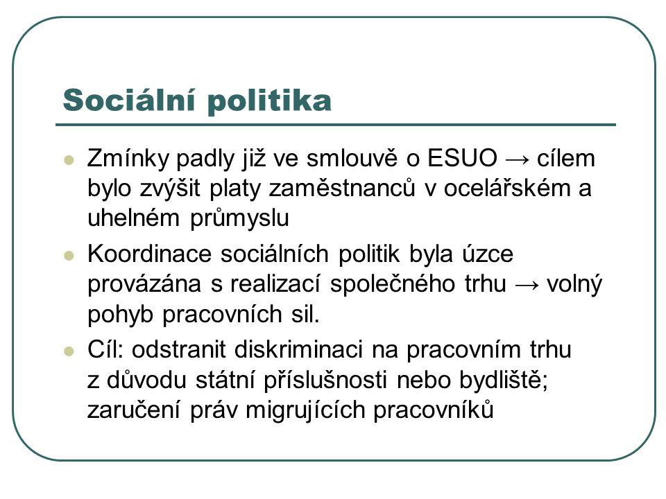 Sociální politika Zmínky padly již ve smlouvě o ESUO → cílem bylo zvýšit platy zaměstnanců v ocelářském a uhelném průmyslu.
