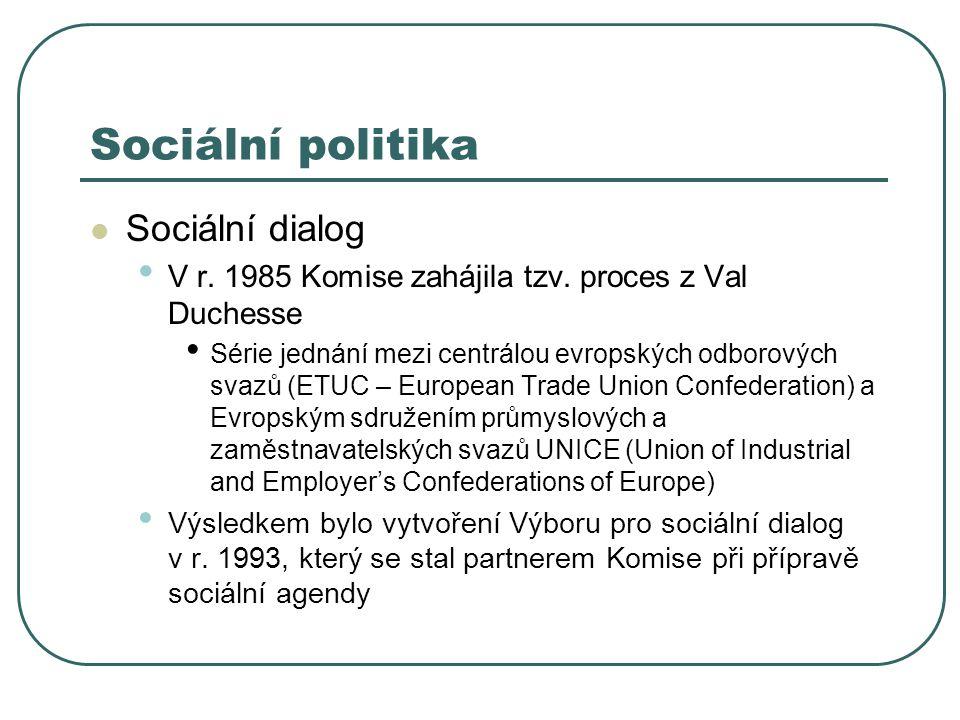 Sociální politika Sociální dialog