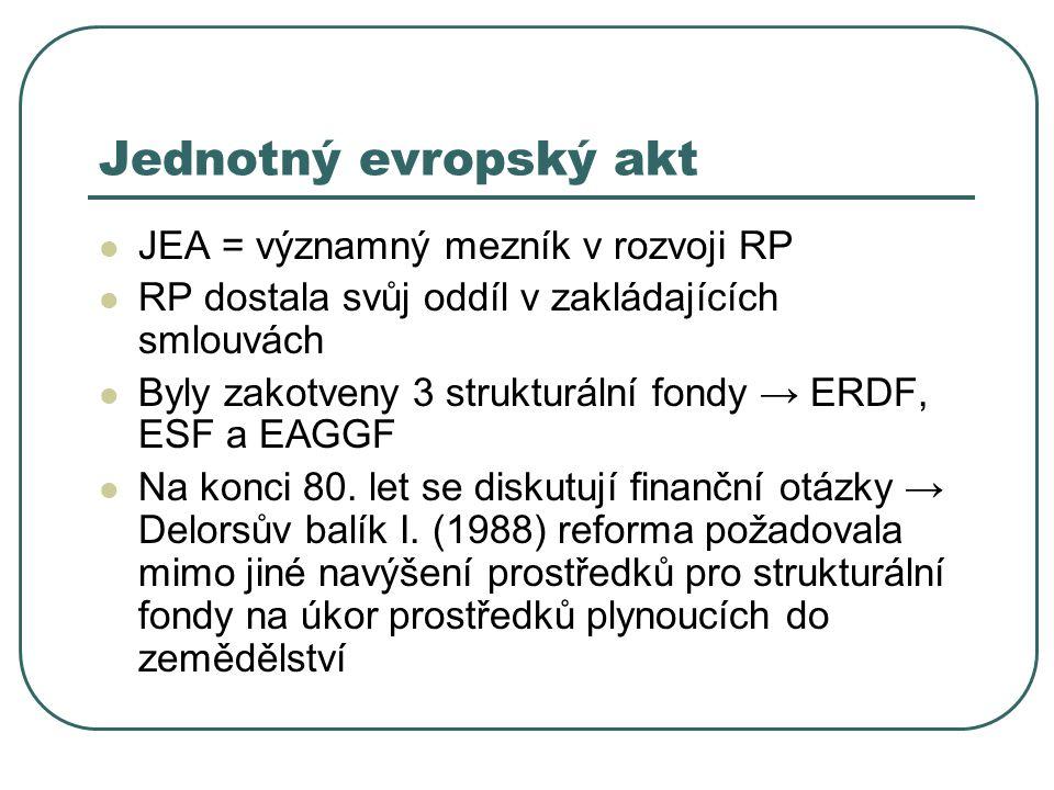 Jednotný evropský akt JEA = významný mezník v rozvoji RP