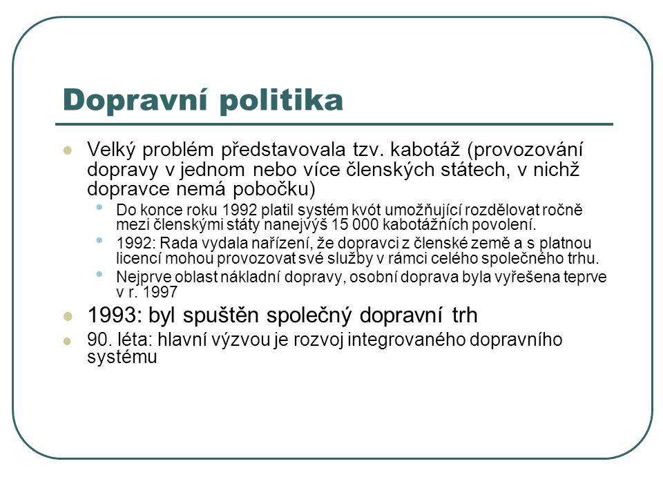 Dopravní politika 1993: byl spuštěn společný dopravní trh
