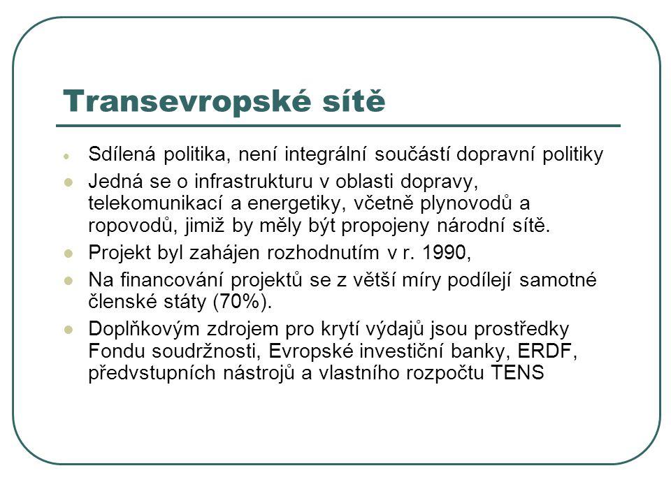 Transevropské sítě Sdílená politika, není integrální součástí dopravní politiky.