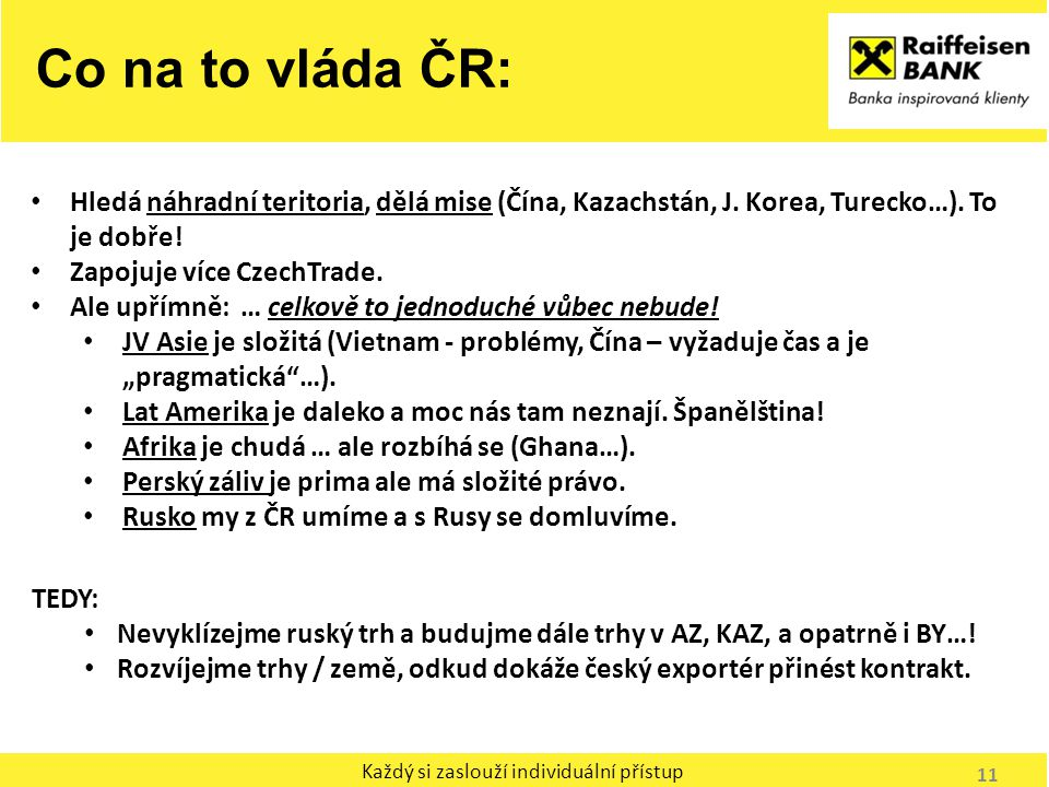 Co na to vláda ČR: Hledá náhradní teritoria, dělá mise (Čína, Kazachstán, J. Korea, Turecko…). To je dobře!