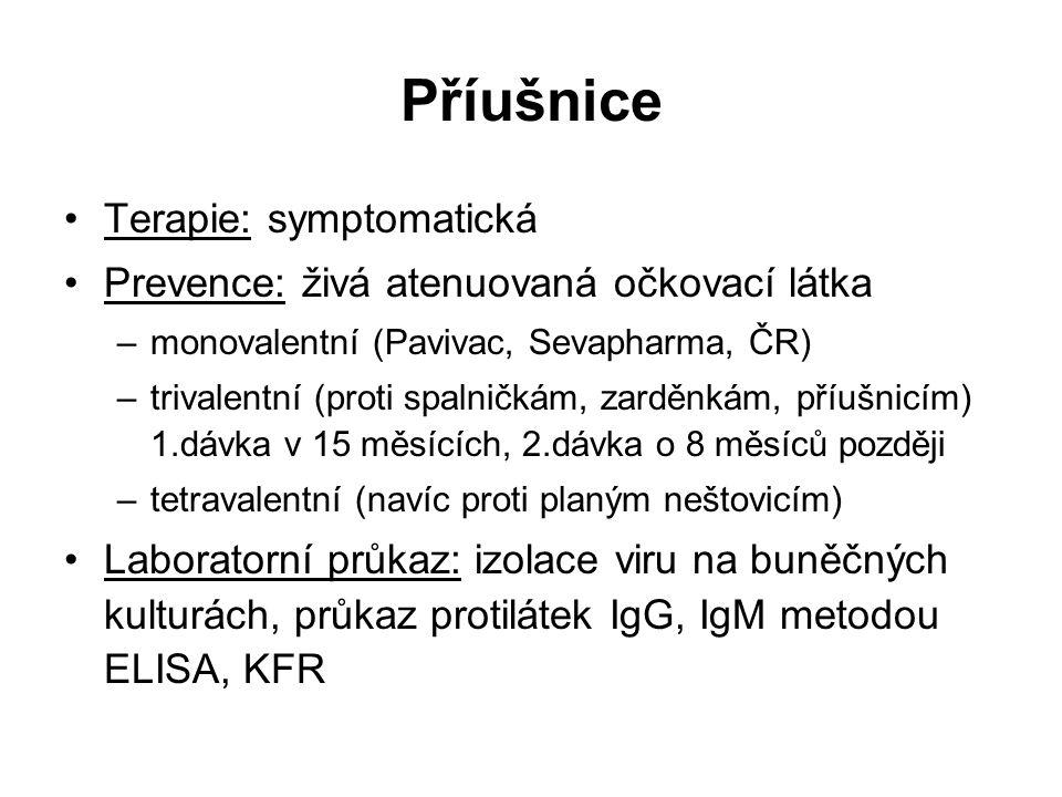 Příušnice Terapie: symptomatická