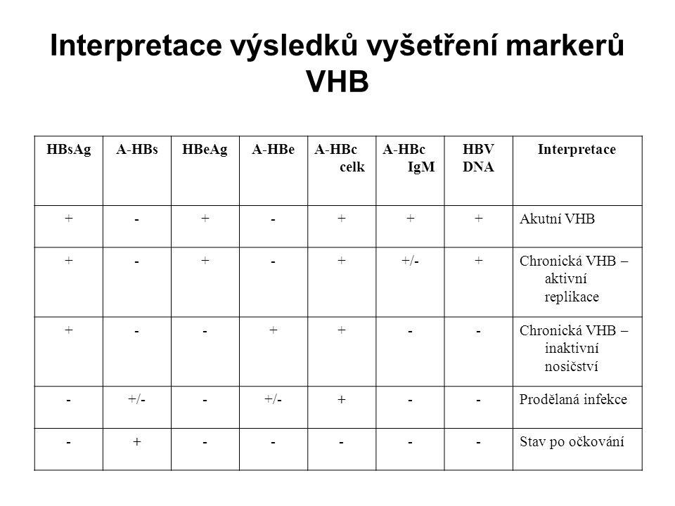 Interpretace výsledků vyšetření markerů VHB