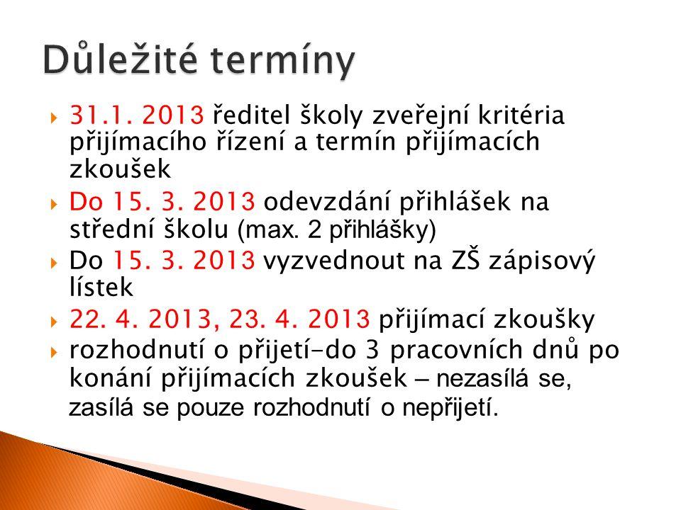 Důležité termíny 31.1. 2013 ředitel školy zveřejní kritéria přijímacího řízení a termín přijímacích zkoušek.