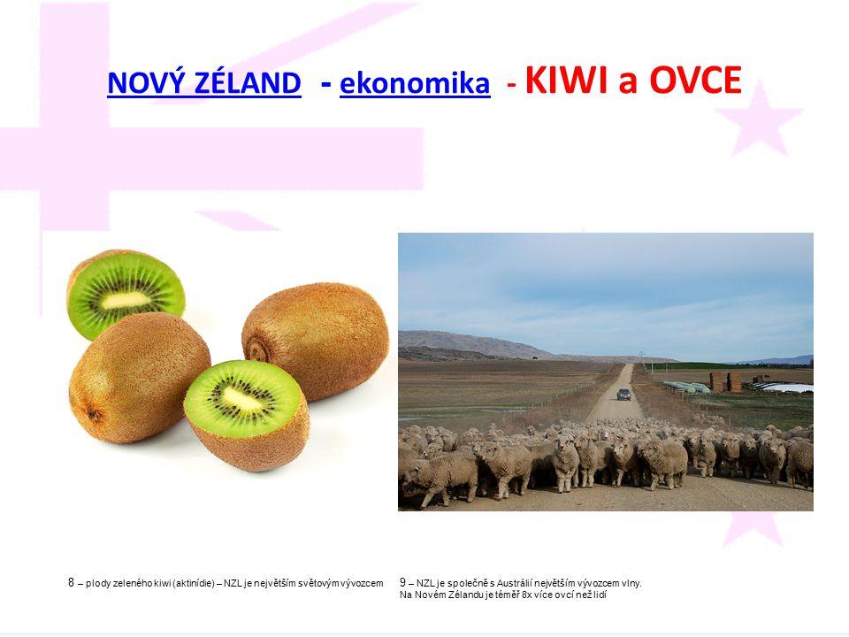 NOVÝ ZÉLAND - ekonomika - KIWI a OVCE