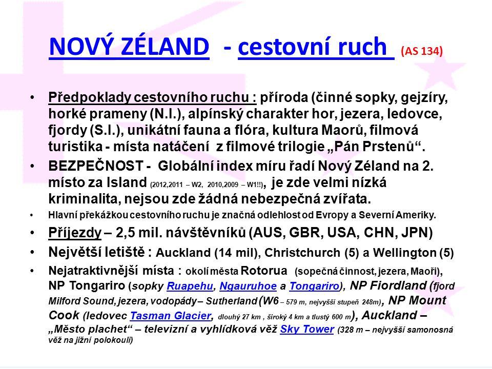 NOVÝ ZÉLAND - cestovní ruch (AS 134)