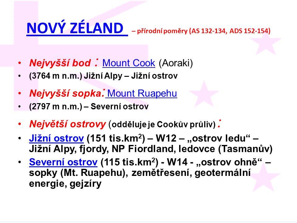NOVÝ ZÉLAND – přírodní poměry (AS 132-134, ADS 152-154)