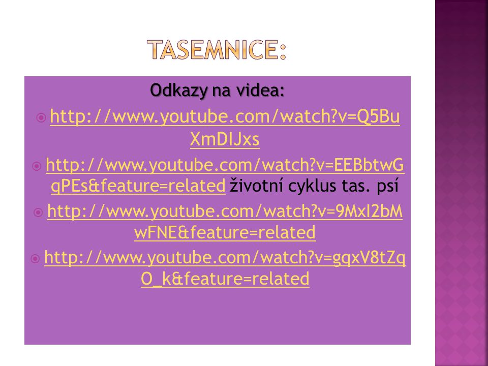 Tasemnice: http://www.youtube.com/watch v=Q5Bu XmDIJxs