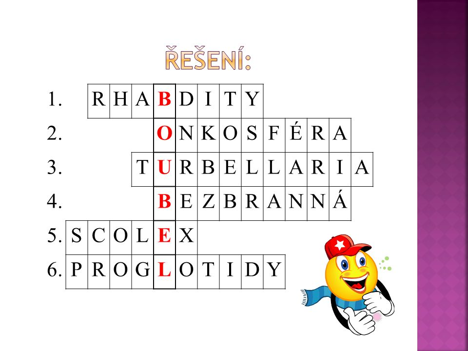 Řešení: 1. R H A B D I T Y 2. O N K S F É 3. U E L 4. Z Á 5. C X 6. P