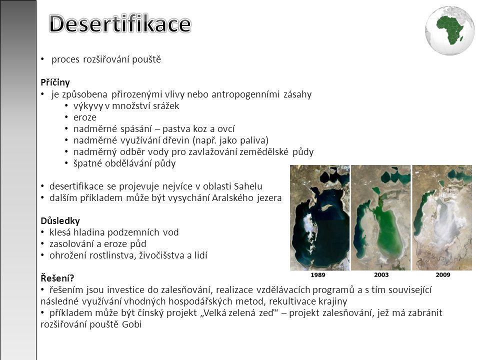 Desertifikace proces rozšiřování pouště Příčiny