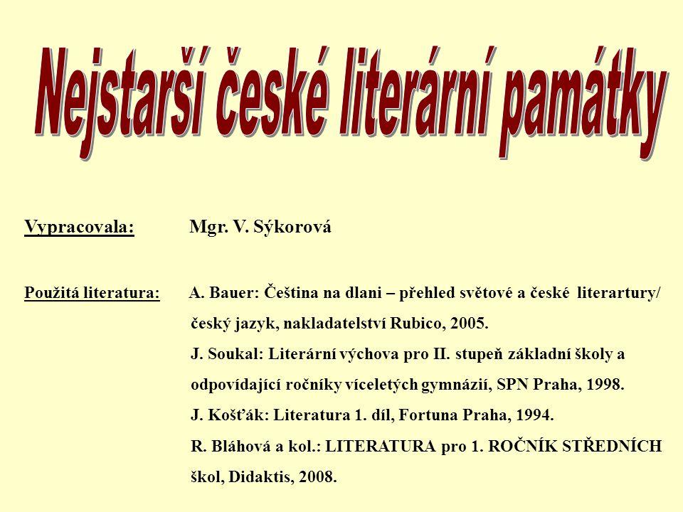 Nejstarší české literární památky