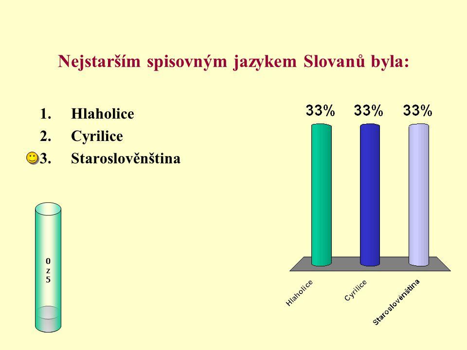 Nejstarším spisovným jazykem Slovanů byla: