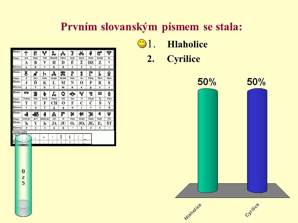 Prvním slovanským písmem se stala: