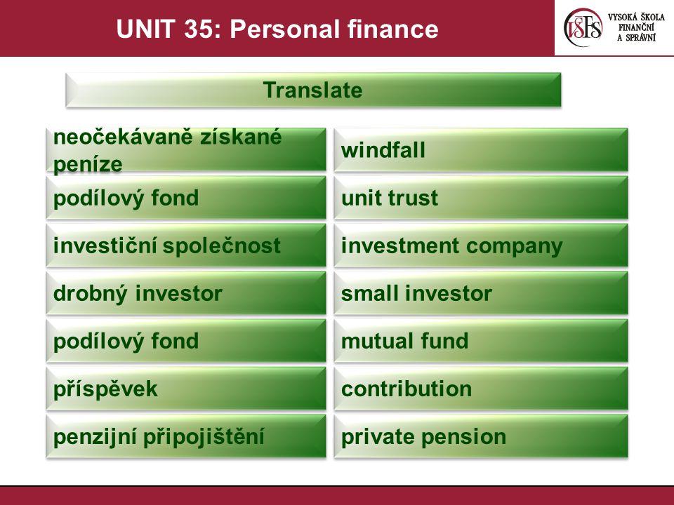 UNIT 35: Personal finance