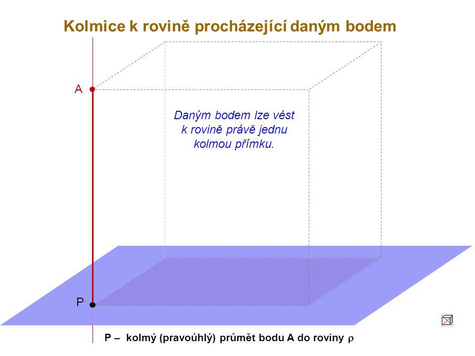 P – kolmý (pravoúhlý) průmět bodu A do roviny r
