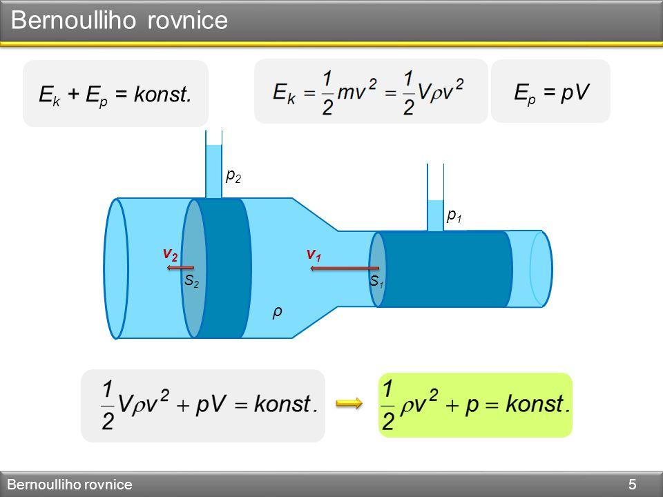 Bernoulliho rovnice Ek + Ep = konst. Ep = pV p2 p1 v2 v1 ρ S2 S1