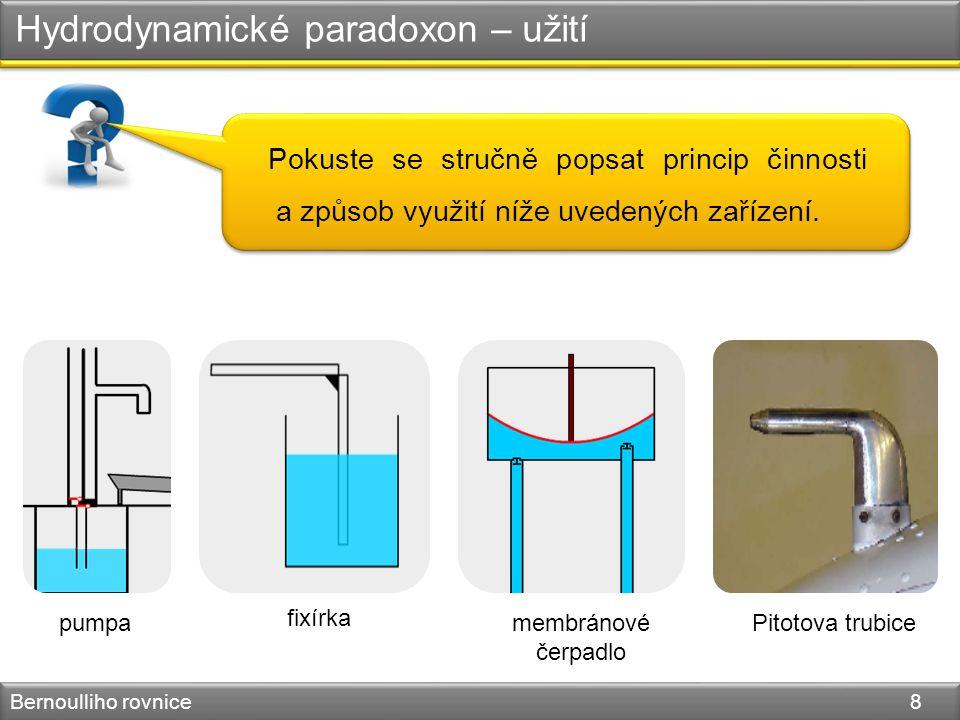 Hydrodynamické paradoxon – užití