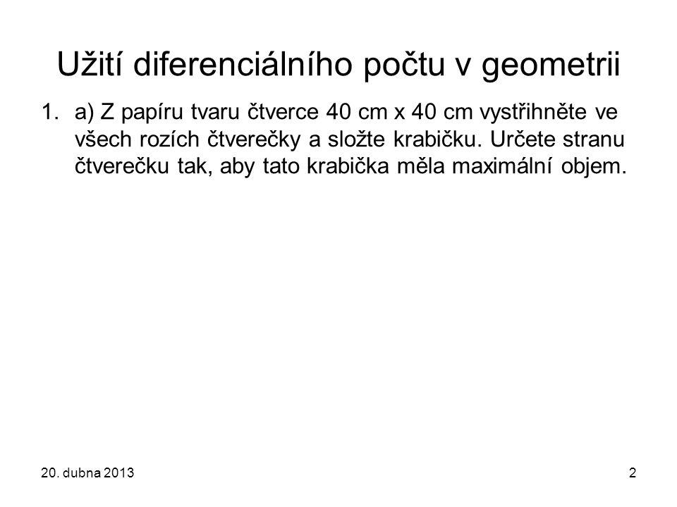 Užití diferenciálního počtu v geometrii