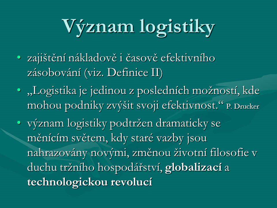 Význam logistiky zajištění nákladově i časově efektivního zásobování (viz. Definice II)