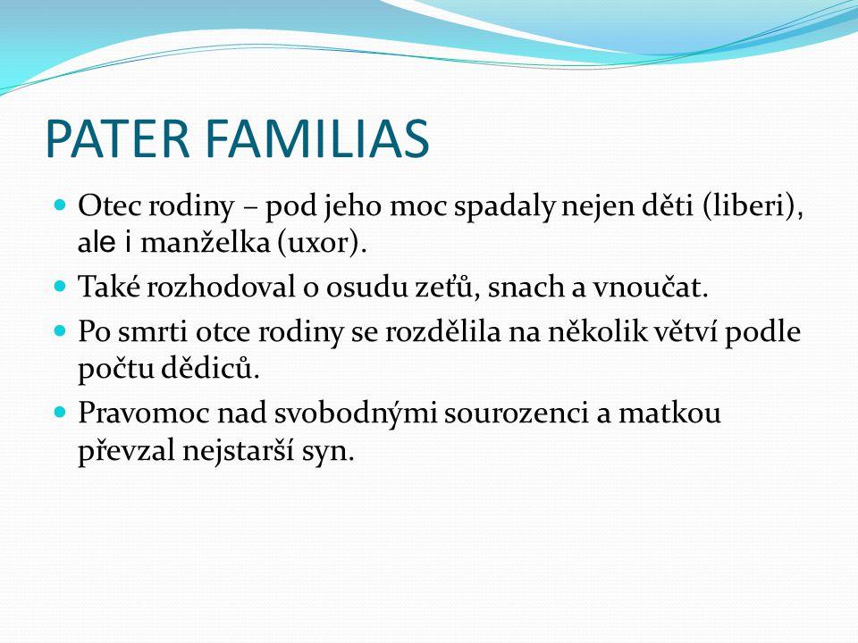 PATER FAMILIAS Otec rodiny – pod jeho moc spadaly nejen děti (liberi), ale i manželka (uxor). Také rozhodoval o osudu zeťů, snach a vnoučat.
