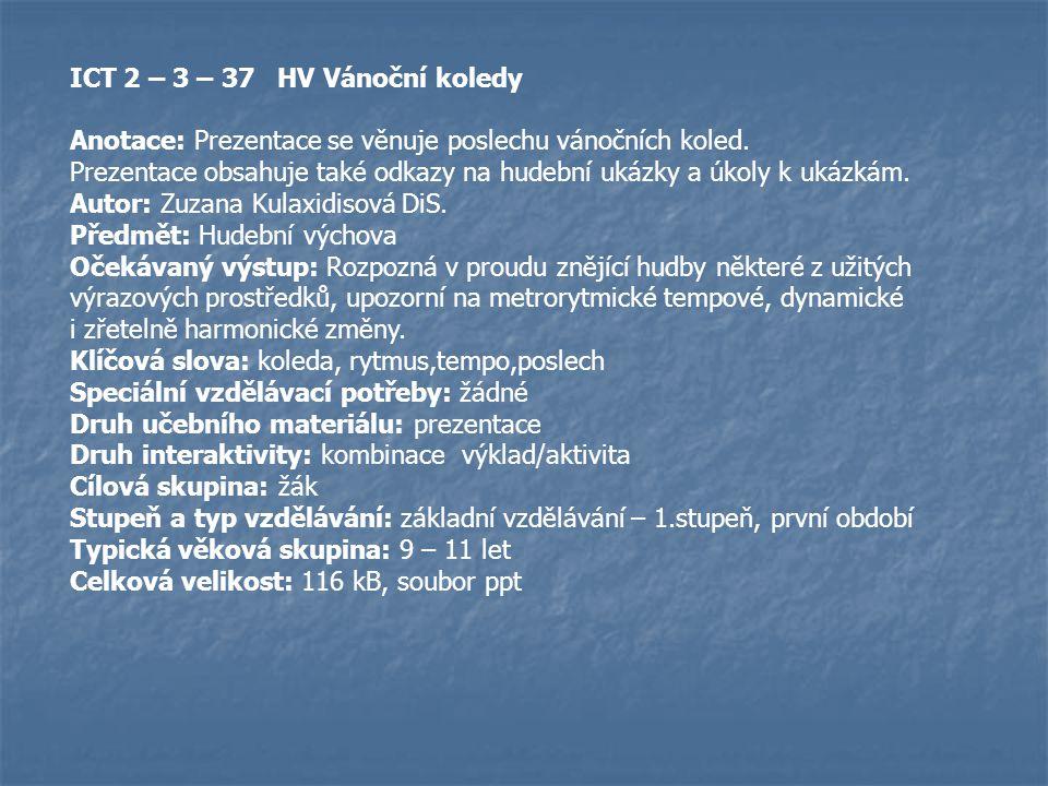 ICT 2 – 3 – 37 HV Vánoční koledy