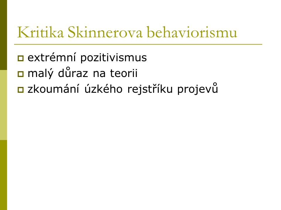 Kritika Skinnerova behaviorismu