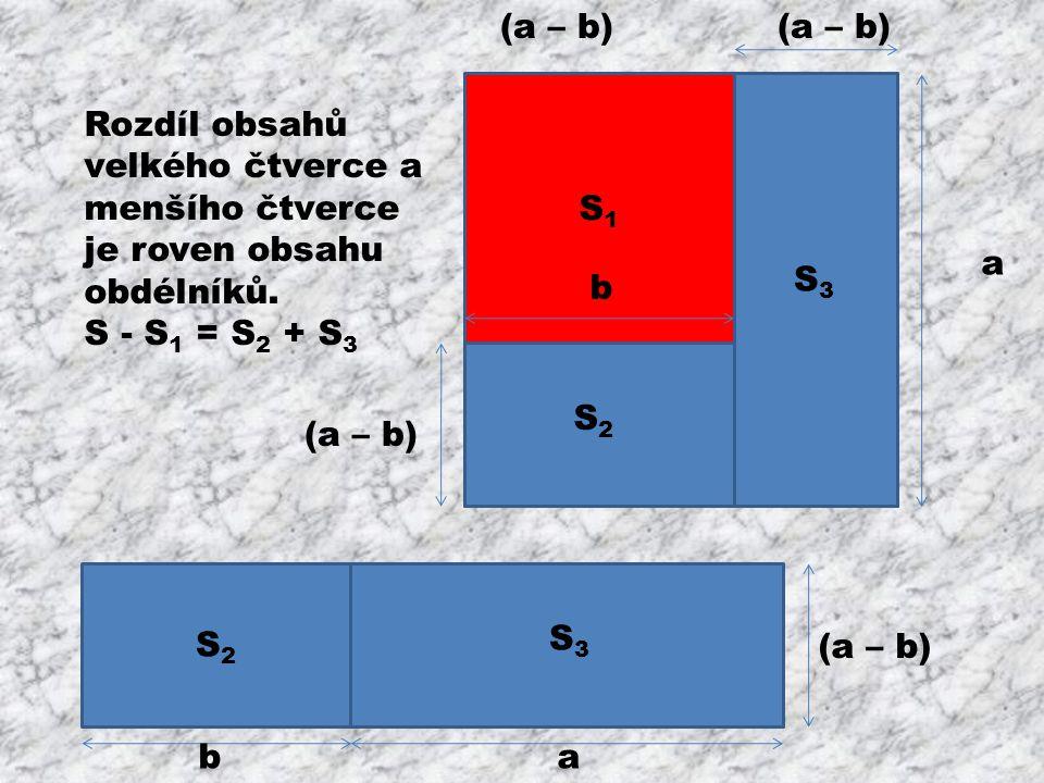 (a – b) (a – b) b. S1. Rozdíl obsahů velkého čtverce a menšího čtverce je roven obsahu obdélníků.