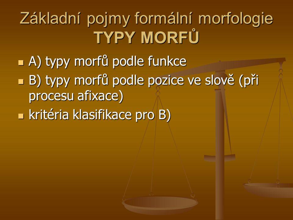 Základní pojmy formální morfologie TYPY MORFŮ